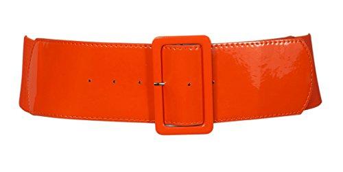 eVogues Plus Size Wide Patent Leather Fashion Belt Orange - One Size Plus (Orange Belt compare prices)