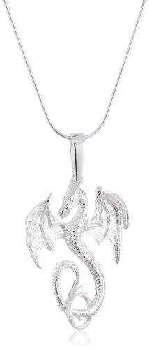 VINANI German 925 Sterling Silver Women Pendant big Dragon shiny with Pearl & Snake Chain Necklace 20″ ADG-S50