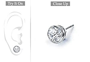 Fine Jewelry Vault SCMER18WHBZ100D Mens 18K White Gold - Bezel-Set Round Diamond Stud Earrings - 1.00 CT. TW.