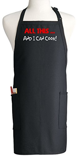 All This ... And I Can Cook! Funny Black Apron For Men & Women (Can Cooking compare prices)
