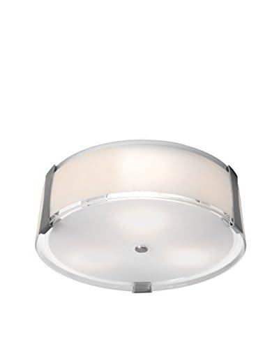Access Lighting Tara 1-Light LED Damp Location 18 Flush Mount, Brushed Steel/Opal