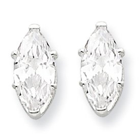 Genuine IceCarats Designer Jewelry Gift Sterling Silver 8X4 Marquise Stud Earrings