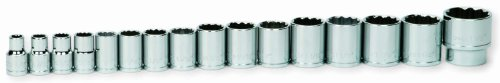 Williams 32924 16-Piece 1/2-Inch Drive Shallow 12 Point Socket Set