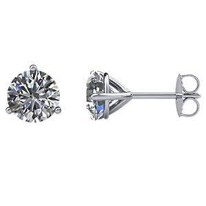 IceCarats Designer Jewelry 14K White Gold Diamond Stud Earrings.