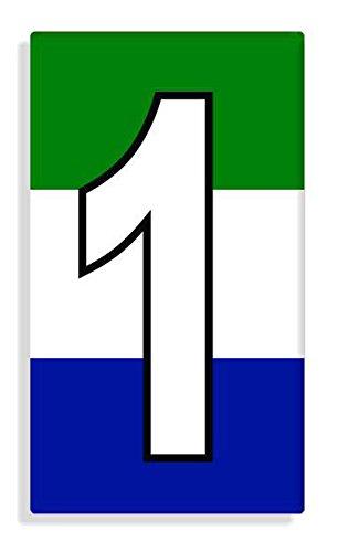 Sierra Leonean - Sierra Leone Flag Number 1 Sticker Self Adhesive / Aufkleber Für Wheelie Bin / Haustür / Mülltonne / Mülleimer - Anzahl wählen