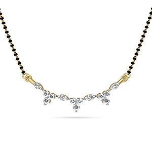 Certified 18K Yellow Gold 0.32 cttw White-Diamond (FG   VS) mangalsutra