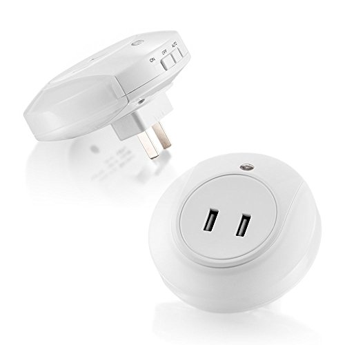 Geekmart LED Night Light Sensor and Dual USB Wall Charger