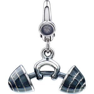 925 Sterling Silver Barbell Charm