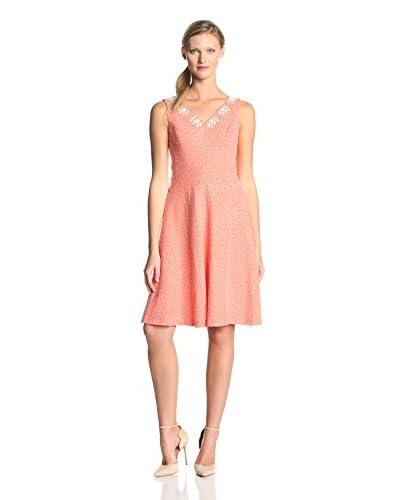 Anne Klein Women's Seersucker Fit-and-Flare Dress  [Flamingo/White]