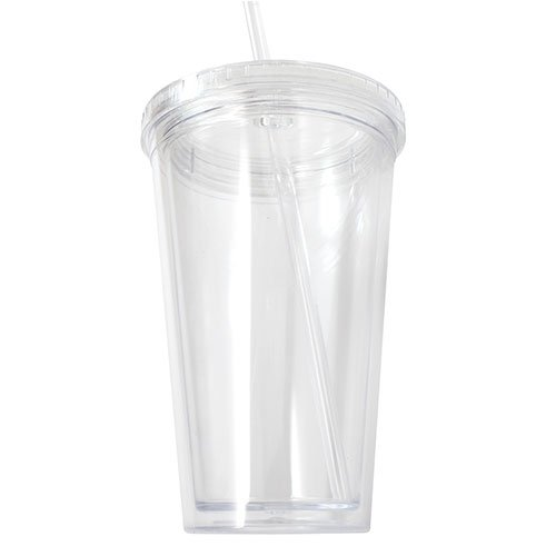 Bulk Lot Of 12 Clear Double Wall Insulated Acrylic Tumblers W/ Straw And Lid front-209760