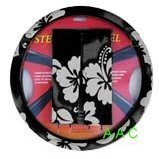 Hawaiian Steering Wheel Cover and Shoulder Pad – Charcoal Black Hawaii Hibiscus Floral Print