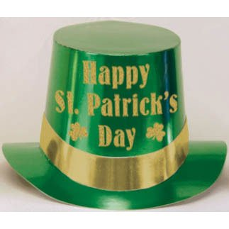 St. Patrick's Green Foil Top Hat with Gold Glitter