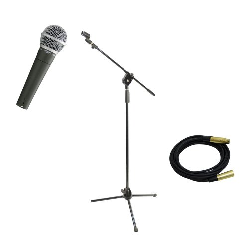 Pyle Mic And Stand Package - Pdmic58 Professional Moving Coil Dynamic Handheld Microphone - Pmks3 Tripod Microphone Stand W/ Extending Boom - Ppmcl15 15Ft. Symmetric Microphone Cable Xlr Female To Xlr Male