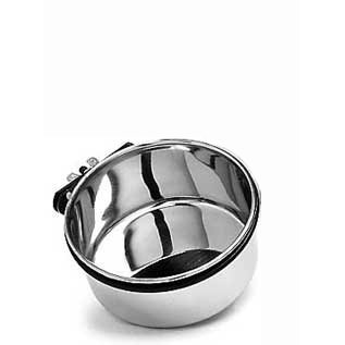 Cheap Steel Coop Cup W/clamp 30oz (Catalog Category: Bird / Bird Cups-metal) (BSO6018)