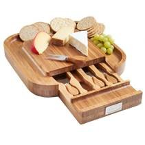 VonShef Square Slide Out Bamboo Cheese Board and 4 Piece Knife Set (Cheese Board compare prices)