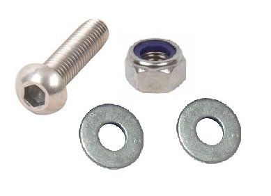 M4 Button Head Bolts with Nut & Washers (4 Pack) 4 x M4 X 12mm Allen Key Head Bolts (Fully Threaded),8 Flat Washers & 4 Nyloc Nuts. A2 Stainless Steel. Free UK Delivery