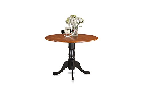 East West Furniture DLT-BCH-TP Round Table with Two 9-Inch Drop Leaves (Round Pedestal Drop Leaf Table compare prices)