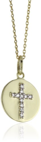 "Kc Designs ""Faithfully Yours"" Diamond 14K Yellow Gold Baby Cross Disc Pendant Necklace, 16"""