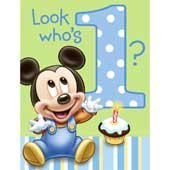 Mickey 1 St Birthday Invites 8 Ct (4 Piece/Pack) - 1INV2484