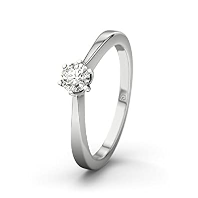 21DIAMONDS Women's Ring Bologna SI2 0.2 ct Brilliant Cut Diamond Engagement Ring - 14ct White Gold Engagement Ring