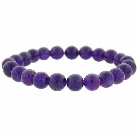 Genuine Amethyst Stone 8mm Bead Beaded Stretch Bracelet