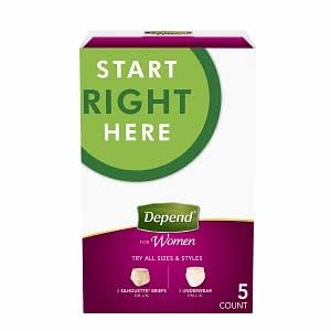 Depend Start Right Here for Women including: 2 Silhouette Briefs(S/M, L/XL), 3 Underwear(S/M,L, XL), total 5 count