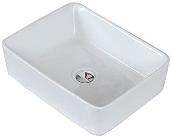 "Jade Bath JB-14017 18.75"" W x 14.75"" D Above Counter Rectangle Vessel for Wall Mount Faucet, White"