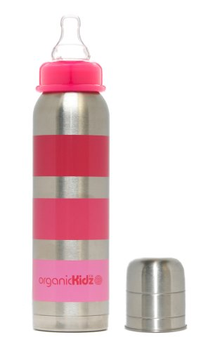 Organickidz Stainless Steel Baby Bottle, 9 Oz, Narrow Neck - Pink Stripe