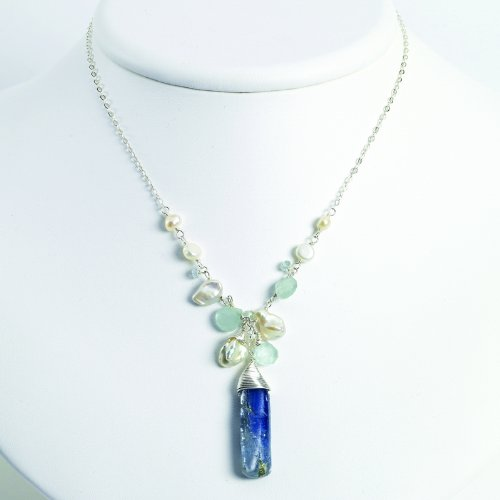 Sterling Silver Aquamarine/Kyanite/White Pearl Necklace. 16in long.