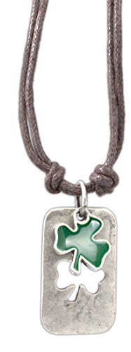 cruz-accessories-enamel-punch-out-shamrock-clover-dog-tag-on-16-double-cord-vintage-necklace