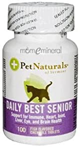 Daily Best Senior, For Cats, 100 Fish Flavored Chewableable Tablets by Pet Naturals of Vermont