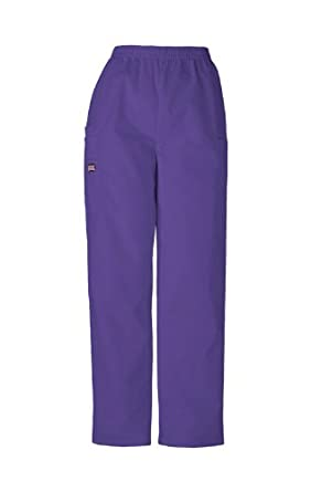 Scrubs - Cherokee Authentic Workwear 4200 PETITE Pull-On Cargo Scrub Pant (Grape, XS-Petite)
