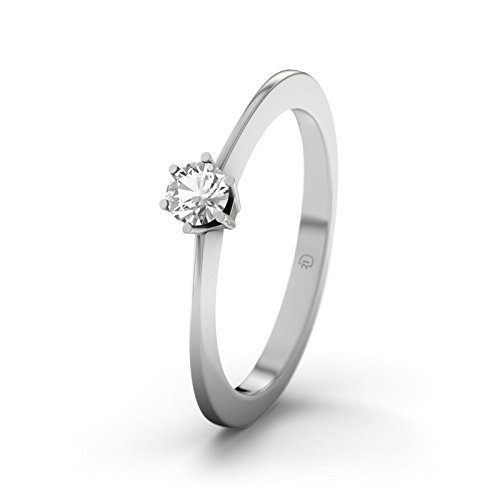 21DIAMONDS Women's Ring Wellington White Topaz Engagement Ring Princess Cut 18ct White Gold Engagement Ring