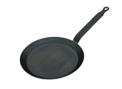 Blue steel crepe pan, 9-1/2 Inches