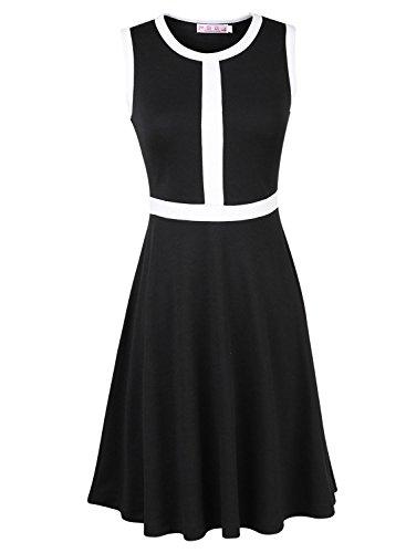 Mooncolour Women'S Ladies Sleeveless Bouffancy Dresses Black White