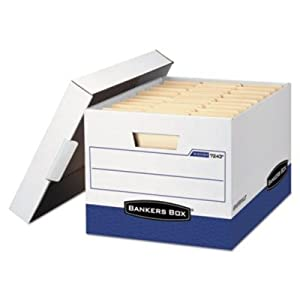 New-Bankers Box 07243 - R-Kive Max Storage Box, Letter/Legal, Locking Lid, White/Blue, 12/Carton - FEL07243