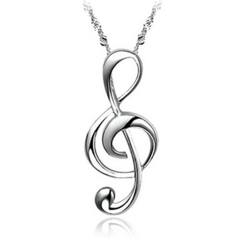 JewelryWe Fashion Silver Plated Treble G Clef Music Note Pendant Necklace Jewelry For Women, Teens - Nickel Free
