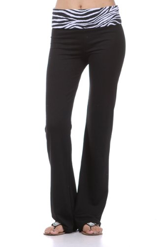 Yoga Pants w/ Black & White Fold Over Waist & Flared Leg