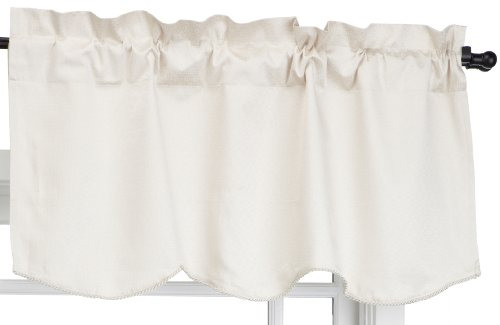 Eclipse Canova 42-Inch by 19-Inch Thermaback Blackout Scallop Valance, Ivory