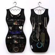 Sexy Dress Style Jewelry Pouch Jewelry Storage Organizer w/ Clothes Hanger - Black
