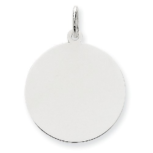 PriceRock 14k White Gold Plain .027 Gauge Round Engraveable Disc Charm