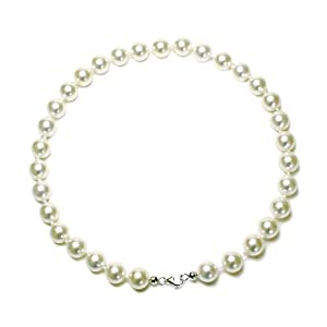 Sterling Silver 12mm Round White Shell Pearl Necklace, 18""