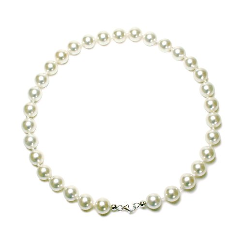 Sterling Silver 12mm Round White Shell Pearl Necklace, 18