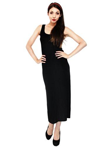 Simplicity Juniors Slim Fit Tank Dress With A Casual Racerback, Long, Black