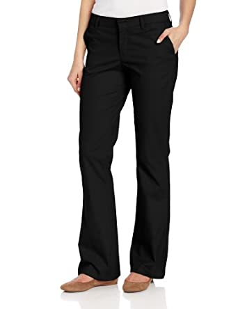 Dickies Women's Flat Front Stretch Twill Pants Black 2 R