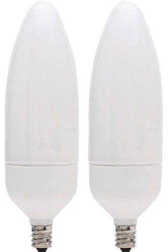 Ge Lighting 79068 Energy Smart Cfl 9-Watt (40-Watt Replacement) 400-Lumen Blunt Tip Light Bulb With Candelabra Base, 2-Pack front-740906