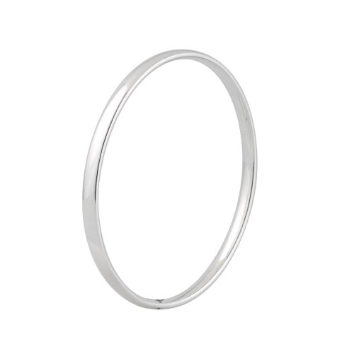 Silver Medium Court Shaped Wire Bangle
