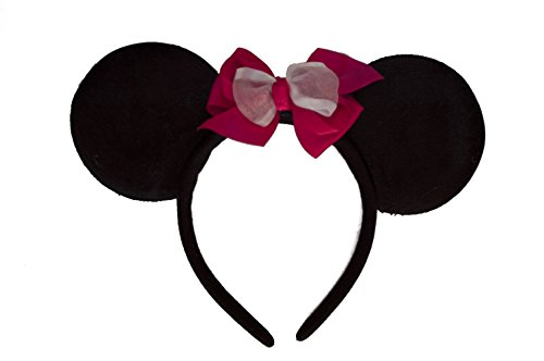 Minnie Mouse Ears Headband with Custom Hot Pink Bow (Childrens or Adults)