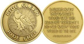 Ride Clean Motorcycle Eagle - Bronze AA-ACA-AL-ANON - Sober / Sobriety /Affirmation / Birthday / Anniversary / Desire / Recovery / Medallion / Coin / Chip / Challenge