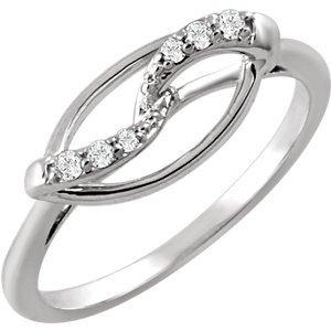 Sterling Silver .08 CTW Diamond Ring